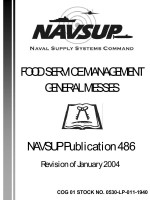 Food Service Management General Messes NAVSUP PUBLICATION 486